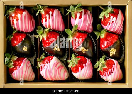 Box of chocolate dipped fresh strawberries - Stock Photo