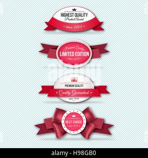 Set of Superior Quality and Satisfaction Guarantee Ribbons, Labels, Tags. Retro vintage style. Vector illustration, - Stock Photo