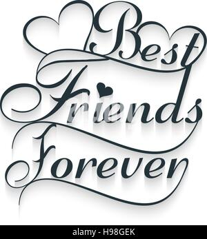 Best friends forever. Calligraphy text. Vector illustration, EPS 10 - Stock Photo