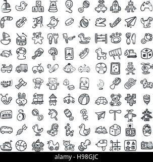 Doodle toys icons set. Vector illustration, EPS 10 - Stock Photo