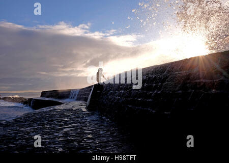 Lyme Regis Dorset, UK. 20th Nov, 2016. A woman enjoys the views of waves crashing over The Cobb wall in Lyme Regis - Stock Photo