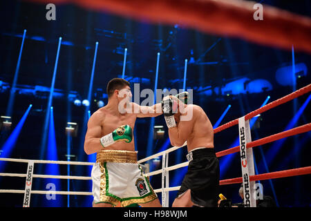 Hanover, Germany. 19th Nov, 2016. IBO World Champion Marco Huck (l) and Dmitro Kutscher from Ukraine in action during - Stock Photo