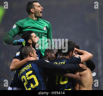 Milan. 20th Nov, 2016. Inter Milan's players celebrate Ivan Perisic's goal during the Italian Serie A football match - Stock Photo