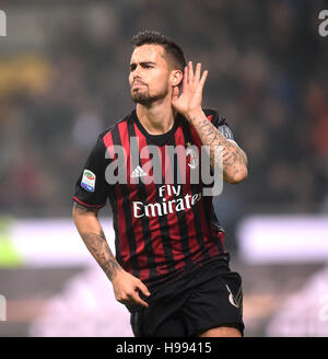Milan. 20th Nov, 2016. AC Milan's Suso celebrates scoring during the Italian Serie A football match between AC Milan - Stock Photo