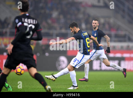 Milan. 20th Nov, 2016. Inter Milan's Antonio Candreva scores during the Italian Serie A football match between AC - Stock Photo