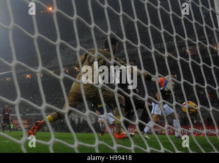 Milan. 20th Nov, 2016. Inter Milan's Ivan Perisic scores during the Italian Serie A football match between AC Milan - Stock Photo
