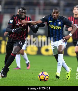Milan. 20th Nov, 2016. Inter Milan's Geoffrey Kondogbia (R) vies with AC Milan's M'Baye Niang during the Italian - Stock Photo