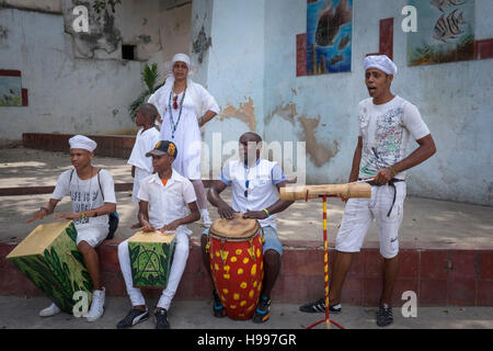 Havana, Cuba: Santeria dancers and watchers - Stock Photo
