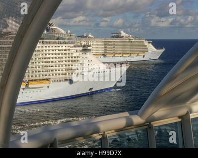 Three Oasis Class Royal Caribbean Cruise Ships Meet For