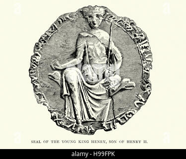 Seal of Henry the Young King, was the second of five legitimate sons of Henry II of England and Eleanor of Aquitaine. - Stock Photo