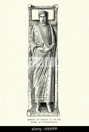 Effigy of King Henry II of England, on his tomb at Fontevraud - Stock Photo