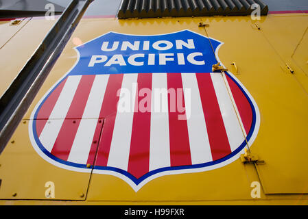 Union  Pacific sign in  Keeefick Park, Omaha, Nebraska, USA. - Stock Photo
