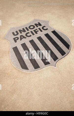 Union  Pacific sign in the concrete in Keeefick Park, Omaha, Nebraska, USA. - Stock Photo