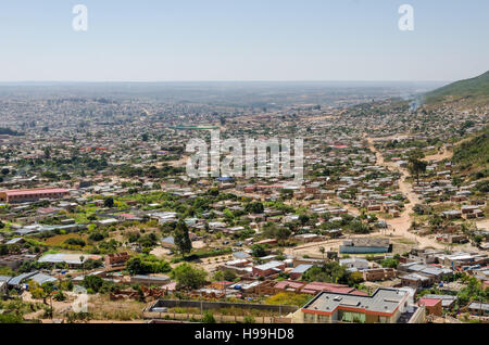 Aerial or rock view of African town Lubango in the interior of Angola. - Stock Photo