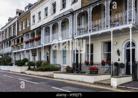 Traditional old terraced homes with decorative balconies on the Royal Terrace, Southend-on-sea, Essex,England - Stock Photo