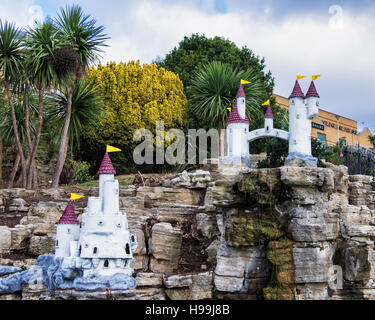 Fairy Tale Castle & fountain, remains of the Never Never Land Theme park in Cliff gardens, Southend-on-sea, Essex, - Stock Photo