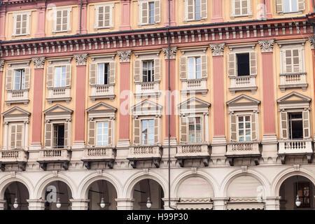Ornate building facades in Piazza Statuto. - Stock Photo