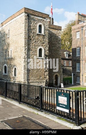 The Jewel Tower is a 14th-century surviving element of the Royal Palace of Westminster - Stock Photo
