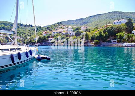 Kioni port at Ithaca Ionian islands Greece - Stock Photo