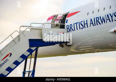 Steps leading up to British Airways Concorde airplane. - Stock Photo