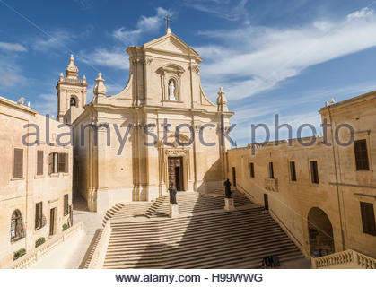 Grand approach to Cathedral inside Citadel at Victoria on Gozo, Malta - Stock Photo