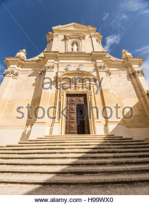 Entrance to Cathedral in Citadel at Victoria on Gozo, Malta. - Stock Photo