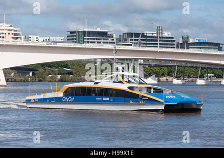 CityCat ferry boat on Brisbane River, Brisbane City, Brisbane, Queensland, Australia - Stock Photo