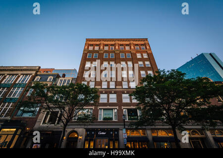Buildings on Newbury Street, in Back Bay, Boston, Massachusetts. - Stock Photo