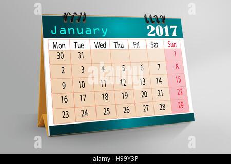 Desktop Calendar January 2017 Illustration Design Stock Photo In Ideas