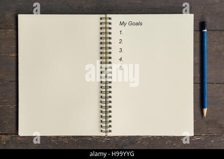Business concept - Top view notebook writing My Goals. - Stock Photo