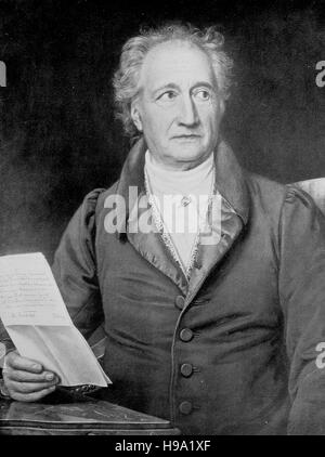Johann Wolfgang von Goethe, 28 August 1749 - 22 March 1832, was a German writer and statesman, historical illustration - Stock Photo