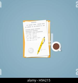 Flat illustration. Documents, golden pen, business papers. Signed agreement. - Stock Photo