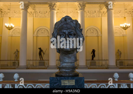 View of the bust of The Tsar Petr First in hall of the State Russian Museum of Saint Petersburg, Russia - Stock Photo