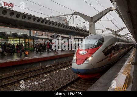 The modern high-speed train 'Sapsan' at the platform of the Moscow station in Saint Petersburg city, Russia - Stock Photo
