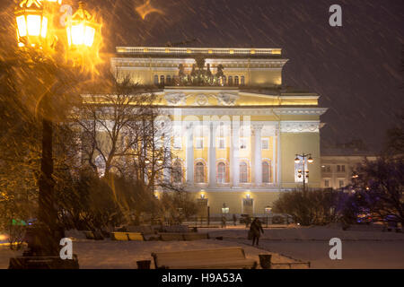 View of facade the Alexandrinsky theatre at the Ostrovsky square at night in Saint Petersburg, Russia - Stock Photo