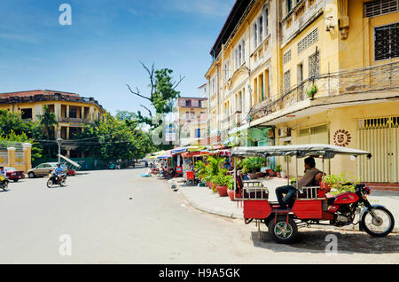 french colonial old town street buildings in phnom penh city cambodia - Stock Photo