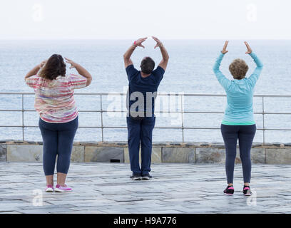Mature man and two mature women practicing Tai chi overlooking the sea - Stock Photo