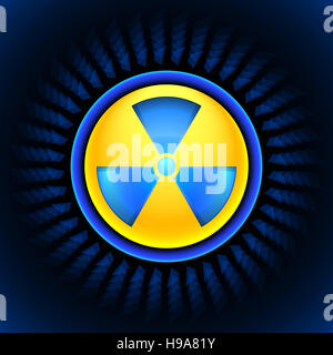 sign of radiation blue - Stock Photo