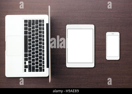 aptop tablet and phone on desk top view, mock-up tablet and phone - Stock Photo