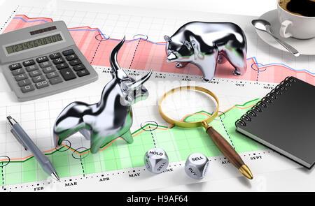 Bull and Bear on 'Desktop Stock Market' - Stock Photo