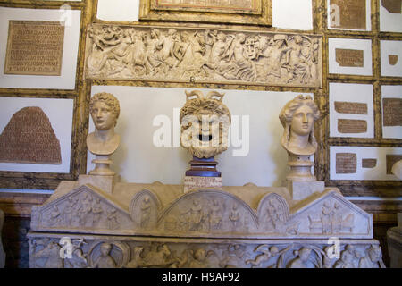 Marble art engraving statues in Rome, italy, capitoline museums,  musei capitolini, art heritage touristic landmark - Stock Photo