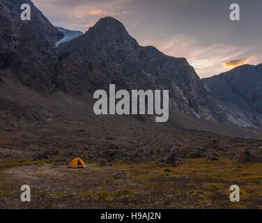 Base camping in Auyuittuq National Park scenery, Nunavut, Canada. 3/3 - Stock Photo