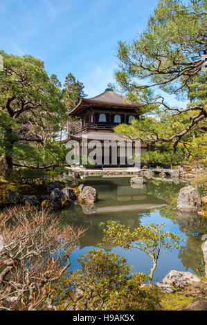 Ginkaku-ji, a villa named Silver Pavilion constructed in 1482 for Shogun Ashikaga Yoshimasa and converted into a - Stock Photo