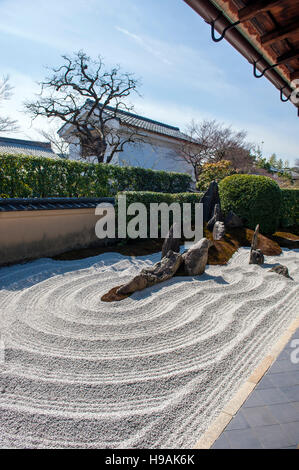 A Zen garden at the Zuiho-in Zen Buddhist temple, a sub-temple of the Daitoku-ji temple complex in Kyoto. Kyoto, - Stock Photo