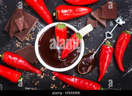 hot chocolate with red pepper in the cup - Stock Photo