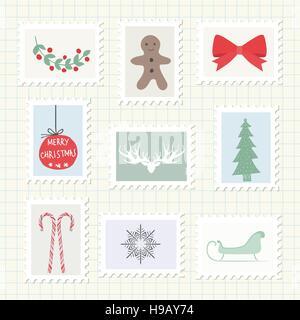 Christmas Postmark Collection. Vector Illustration - Stock Photo