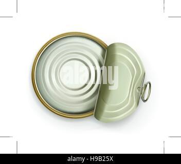 Open tin can, top view vector icon - Stock Photo