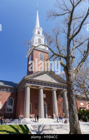 CAMBRIDGE, MA, USA - APRIL 9, 2016: Historic Memorial Church on the campus of Harvard University, in Spring in Cambridge, - Stock Photo