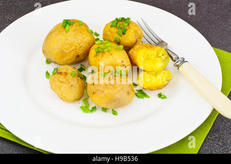 Potatoes with Butter and Green Onion Studio Photo - Stock Photo