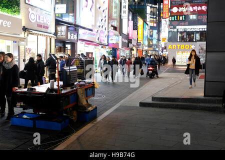 Myeong-dong, Seoul, South Korea, at night - Stock Photo